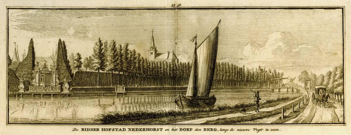 Kasteel Nederhorst in Nederhorst den Berg. Tekening Jan de Beijer, gravure Hendrik Spilman(Uit: Het Verheerlykt Nederland, Isaac Tirion, 1745/1774)